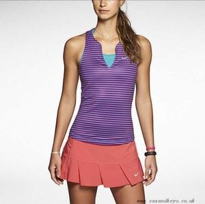 EUC Nike tennis tank top purple stripe
